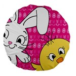 Easter Large 18  Premium Flano Round Cushions Back