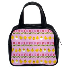 Easter   Chick And Tulips Classic Handbags (2 Sides) by Valentinaart