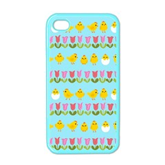 Easter   Chick And Tulips Apple Iphone 4 Case (color) by Valentinaart