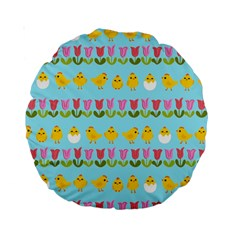 Easter   Chick And Tulips Standard 15  Premium Round Cushions