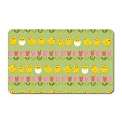 Easter   Chick And Tulips Magnet (rectangular) by Valentinaart