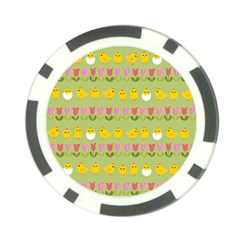 Easter   Chick And Tulips Poker Chip Card Guard by Valentinaart