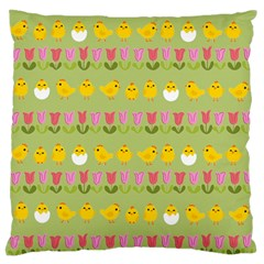 Easter   Chick And Tulips Large Flano Cushion Case (one Side) by Valentinaart