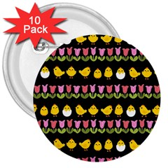 Easter   Chick And Tulips 3  Buttons (10 Pack)