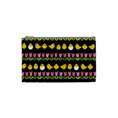 Easter   Chick And Tulips Cosmetic Bag (small)  by Valentinaart