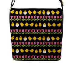 Easter   Chick And Tulips Flap Messenger Bag (l)  by Valentinaart
