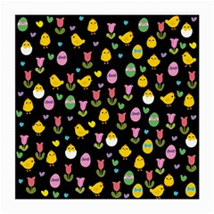 Easter   Chick And Tulips Medium Glasses Cloth (2 Side) by Valentinaart