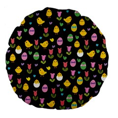 Easter   Chick And Tulips Large 18  Premium Flano Round Cushions by Valentinaart