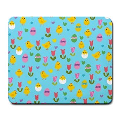 Easter   Chick And Tulips Large Mousepads by Valentinaart