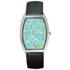 Easter   Chick And Tulips Barrel Style Metal Watch