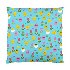 Easter   Chick And Tulips Standard Cushion Case (two Sides) by Valentinaart