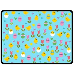 Easter   Chick And Tulips Double Sided Fleece Blanket (large)  by Valentinaart