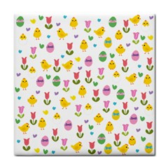 Easter   Chick And Tulips Tile Coasters by Valentinaart