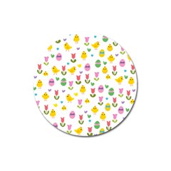 Easter   Chick And Tulips Magnet 3  (round) by Valentinaart