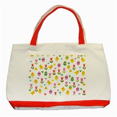 Easter   Chick And Tulips Classic Tote Bag (red)