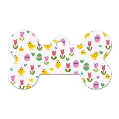Easter   Chick And Tulips Dog Tag Bone (two Sides)