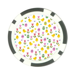 Easter   Chick And Tulips Poker Chip Card Guard (10 Pack)