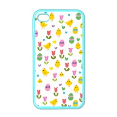 Easter   Chick And Tulips Apple Iphone 4 Case (color)