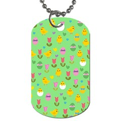 Easter   Chick And Tulips Dog Tag (two Sides) by Valentinaart
