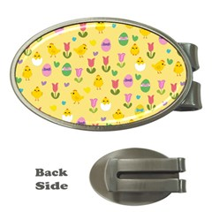 Easter   Chick And Tulips Money Clips (oval)  by Valentinaart