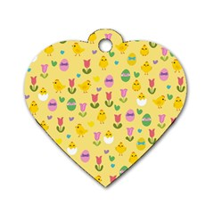Easter   Chick And Tulips Dog Tag Heart (one Side) by Valentinaart