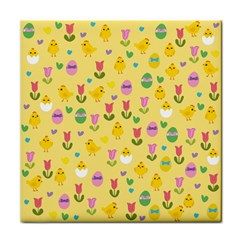 Easter   Chick And Tulips Face Towel by Valentinaart