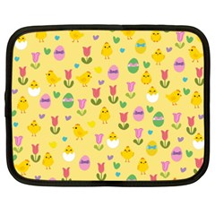 Easter   Chick And Tulips Netbook Case (xxl)  by Valentinaart