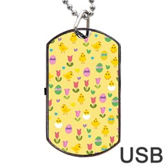 Easter   Chick And Tulips Dog Tag Usb Flash (one Side) by Valentinaart