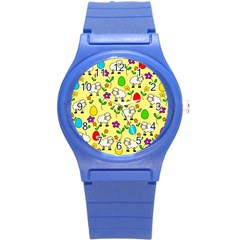 Easter Lamb Round Plastic Sport Watch (s) by Valentinaart