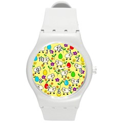 Easter Lamb Round Plastic Sport Watch (m) by Valentinaart