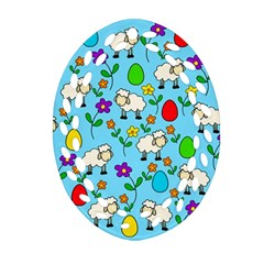 Easter Lamb Oval Filigree Ornament (two Sides) by Valentinaart