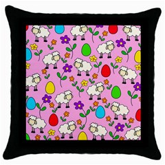 Easter Lamb Throw Pillow Case (black) by Valentinaart