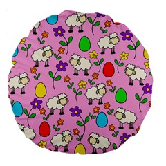 Easter Lamb Large 18  Premium Round Cushions by Valentinaart