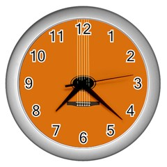 Minimalism Art Simple Guitar Wall Clocks (silver)  by Mariart