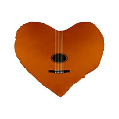 Minimalism Art Simple Guitar Standard 16  Premium Flano Heart Shape Cushions by Mariart