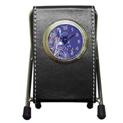Flowers Butterflies Patterns Lines Purple Pen Holder Desk Clocks by Mariart