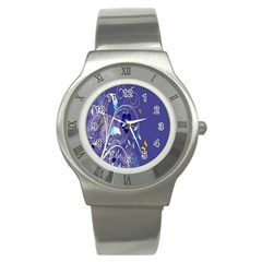 Flowers Butterflies Patterns Lines Purple Stainless Steel Watch by Mariart
