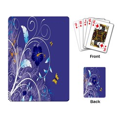 Flowers Butterflies Patterns Lines Purple Playing Card by Mariart