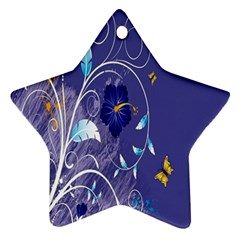 Flowers Butterflies Patterns Lines Purple Star Ornament (two Sides) by Mariart