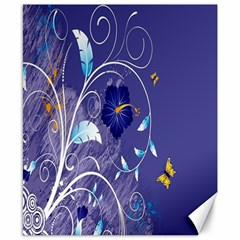 Flowers Butterflies Patterns Lines Purple Canvas 8  X 10  by Mariart