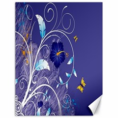 Flowers Butterflies Patterns Lines Purple Canvas 18  X 24   by Mariart