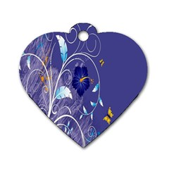 Flowers Butterflies Patterns Lines Purple Dog Tag Heart (one Side) by Mariart