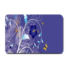 Flowers Butterflies Patterns Lines Purple Small Doormat  by Mariart
