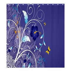 Flowers Butterflies Patterns Lines Purple Shower Curtain 66  X 72  (large)  by Mariart
