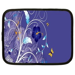 Flowers Butterflies Patterns Lines Purple Netbook Case (xl)  by Mariart