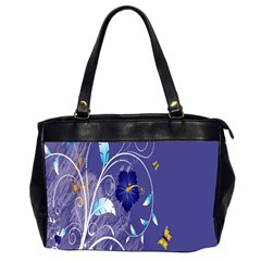 Flowers Butterflies Patterns Lines Purple Office Handbags (2 Sides)  by Mariart