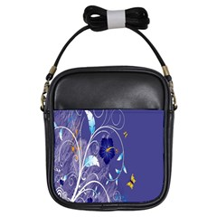 Flowers Butterflies Patterns Lines Purple Girls Sling Bags by Mariart