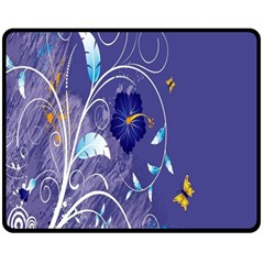 Flowers Butterflies Patterns Lines Purple Fleece Blanket (medium)  by Mariart