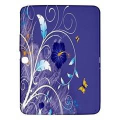Flowers Butterflies Patterns Lines Purple Samsung Galaxy Tab 3 (10 1 ) P5200 Hardshell Case  by Mariart