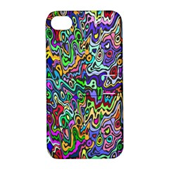 Colorful Abstract Paint Rainbow Apple Iphone 4/4s Hardshell Case With Stand by Mariart